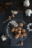 Gluten-free biscuits with almonds, cinnamon and nuts for Christmas