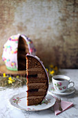 An Easter egg cake made with Baileys, chocolate and blackberry