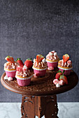 Strawberry and marshmallow cupcakes