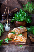 Chicken bell pepper and cheese strudel