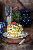 Savory potato mash cake with sour cream