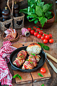 Stuffed chicken breast with bacon