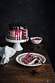 Hibiscus and mascarpone layer cake, sliced