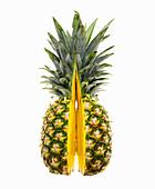 Fresh Pineapple Sliced in Half Against White Background