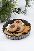 Linzer Plätzchen (nutty shortcrust biscuits topped with jam) and cinnamon stars in a vintage tart tin in the snow