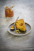 Slice Tahini cake with kumquat