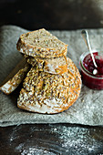 Slice wholemeal bread and jam