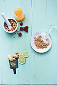 Ingredients for a mango margarita with raspberries