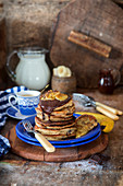 Banana pancakes with chocolate sauce