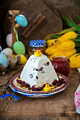 Cottage cheese dessert for Easter Pascha with dried cranberries