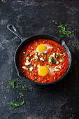 Shakshuka with sheep's cheese and eggs (Israel)