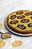 Chocolate Pumpkin Tart with Halloween Pumpkin shaped Glitter Decoration