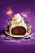 Chocolate and orange yule log