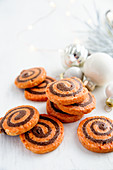 Orange and chocolate pinwheel biscuits