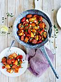 Chorizo mit Kartoffeln, Paprika und Tomaten
