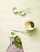Ingredients for cheese soufflé with spinach (no carb)