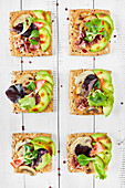 Canapes with mushrooms, avocado, salad, prosciutto on bread crouton with seeds, white wooden background
