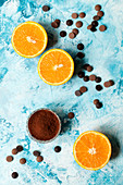 Oranges halves with chocolate chips and cocoa powder