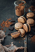 Chocolate macaroons with cocoa powder