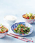 Sichuan dry-fried green beans; Kung pao chicken (China)