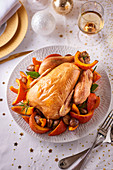 Capon with pumpkin and chestnuts for Christmas