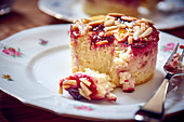 A quark tart with jam and almonds