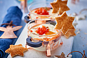 Oeufs cocotte with salmon and caviar (Christmas)