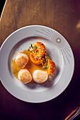 Fried scallops with pumpkin