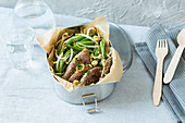 Bean and beef salad with beansprouts to take away