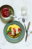 Steamed Chinese cabbage rolls with polenta