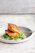 Roasted salmon trout on horseradish savoy cabbage