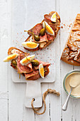 Roast beef sandwiches with tuna, capers and egg