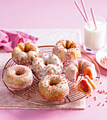 Baby pink cakes with lemon glaze