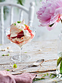 Strawberry Eton Mess with brown sugar meringues