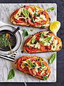 Pre-serve tuna and tomato open-face Panini