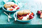 Pistachio shortcakes wtih strawberry compote