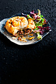 Lamb, cinnamon and date filo pies with honey pistachio dressing