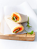 Low-cal egg, shredded veggie, chilli and turkey wraps