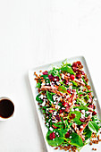 Barbecue steak salad with beetroot and lentils