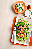 Pearl couscous salad with poached salmon