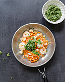 Sweet potato noodles with prawns and coriander pesto