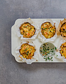 Noodle muffins with sausage