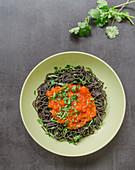 Black bean spaghetti with salsa