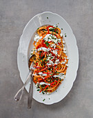 Turkish pasta with peppers and yoghurt