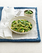 Fusilli with mange tout pesto