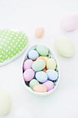 Colourful chocolate eggs