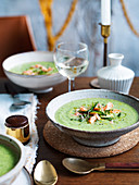Chilled zucchini, pea and buttermilk soup (1070s)