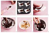 Schokoladenblätter und Goldkugeln als Verzierung für Brownie-Würfel zubereiten