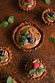 Tartlets filled with chocolate cream (top view)