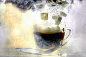 Sugar cubes falling into a cup of coffee (underwater)
